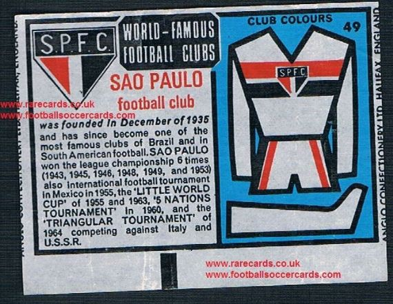 1970 Anglo Gum insert World Famous Clubs São Paulo